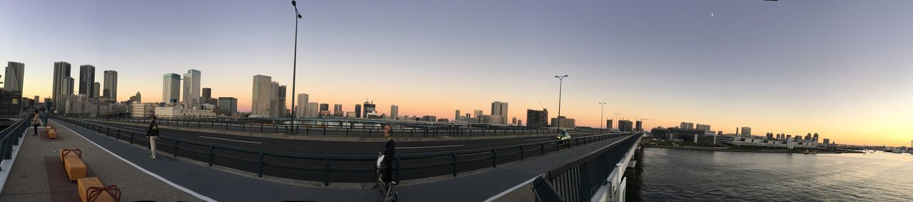 Sunset Panorama Bridge Tokyobay Ocean River EyeEm Selects Architecture Built Structure Sky Building Exterior City Office Building Exterior Skyscraper Urban Skyline Water Sunset Landscape Cityscape