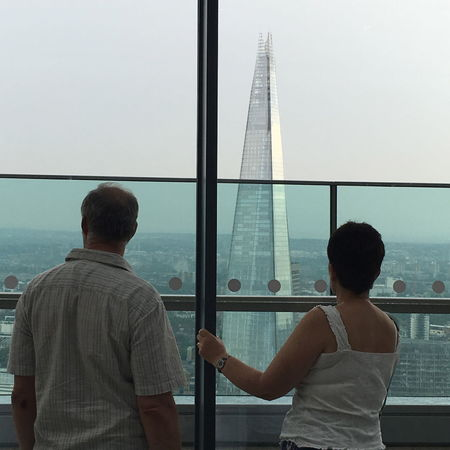 Adult Adults Only Clear Sky Day Horizon Over Water London Look Men Nautical Vessel Only Men Outdoors People Rear View Sea Shard Sky Skyscraper Two People View Waist Up Window Live For The Story EyeEm LOST IN London The Street Photographer - 2018 EyeEm Awards The Architect - 2018 EyeEm Awards