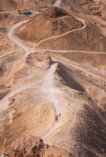 High angle view of masada in israel