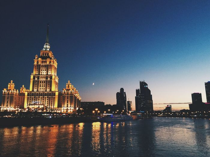 Architecture Built Structure Building Exterior Waterfront River City Illuminated Reflection Moscow Evening