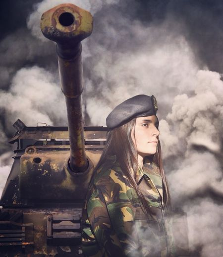 Warzone Army Soldier Tank Artillery Heavy Metal Woman Portrait Woman Who Inspire You Duty Standing Tall Military Life Defence Protection Dust Sand Machine