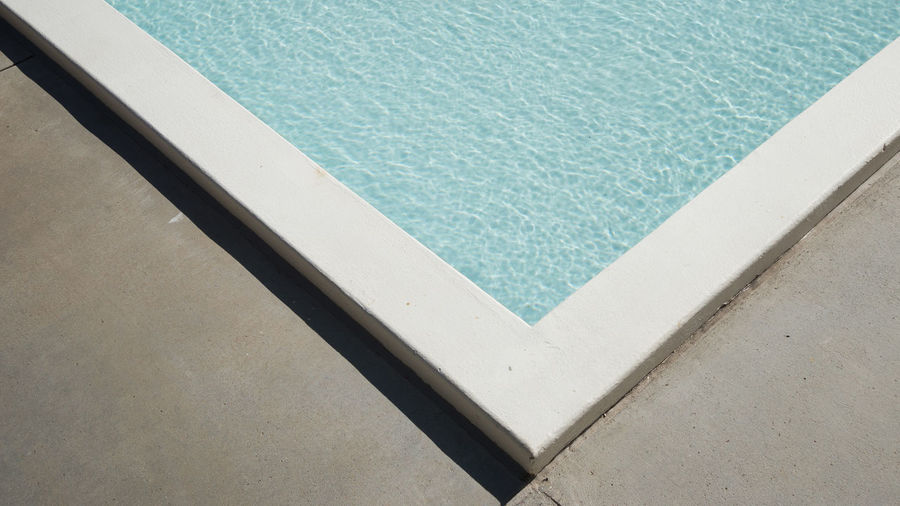 High angle view of edge of pool