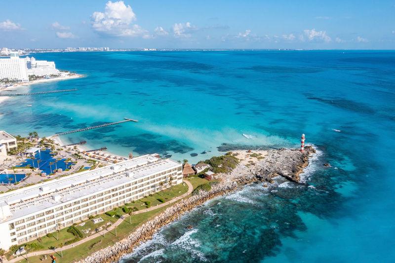 Aerial view of punta norte beach, cancun, mexico.