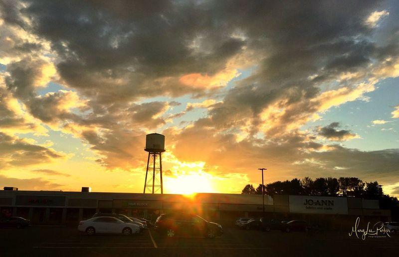 Water tower, eyeem, clouds, sky, sunset, park lot, nature, Built Structure Sunlight Outdoors Yellow Season  Southington, Conn Colors, Blue, White, Landscape