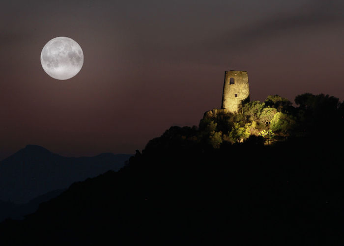 Sardegna Ogliastra Tortoli Red Rocks  Arbatax Full Moon Moon Sky Night Space Nature Astronomy No People Architecture History Built Structure Beauty In Nature Scenics - Nature Building Exterior The Past Mountain Outdoors Planetary Moon Circle Geometric Shape Moonlight