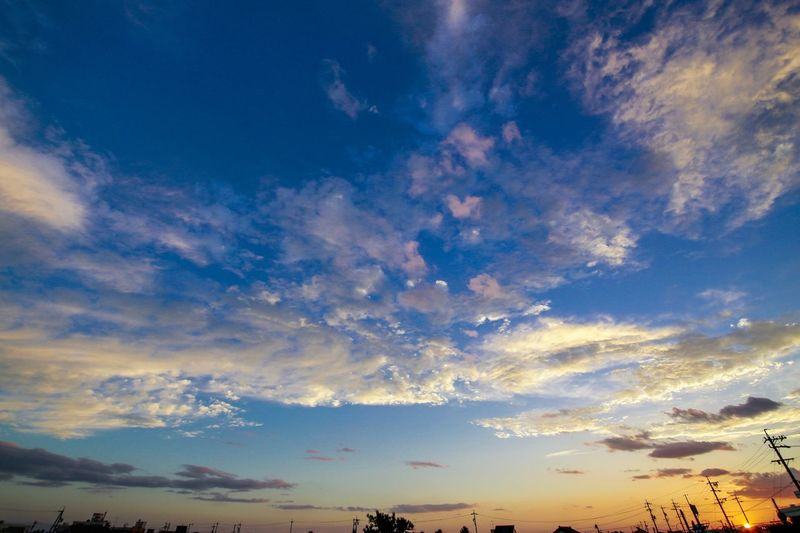 Sky Cloud - Sky Scenics Beauty In Nature Low Angle View Nature No People Tranquility Tranquil Scene Blue Sunset Silhouette Outdoors Day