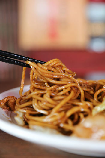 Yakisoba Fried Noodles Ready-to-eat Food Still Life Food And Drink Serving Size Chopsticks Meal Japanese Food