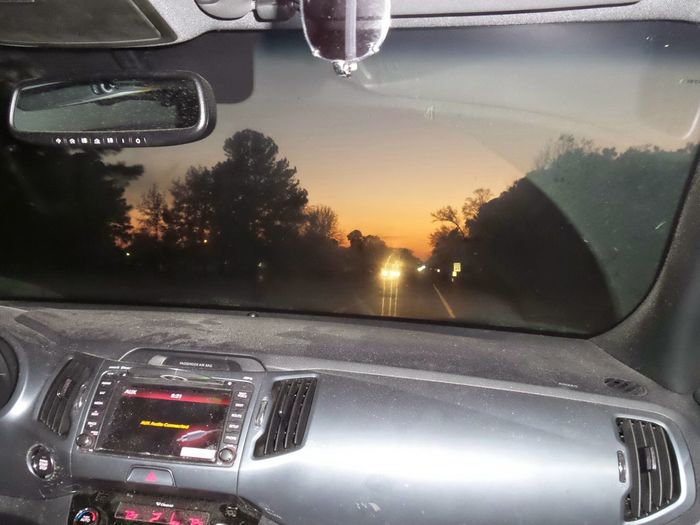 Along The Way On The Road Sunset Car Window