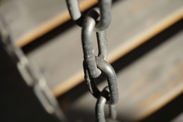 Close-up of chain tied to metal