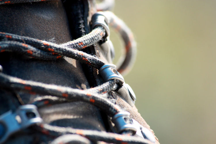 Ways Of Seeing Close-up Detail No People Outdoors Rope Selective Focus Shoe Laces Shoes Still Life Strength Tied Up Walking Boots
