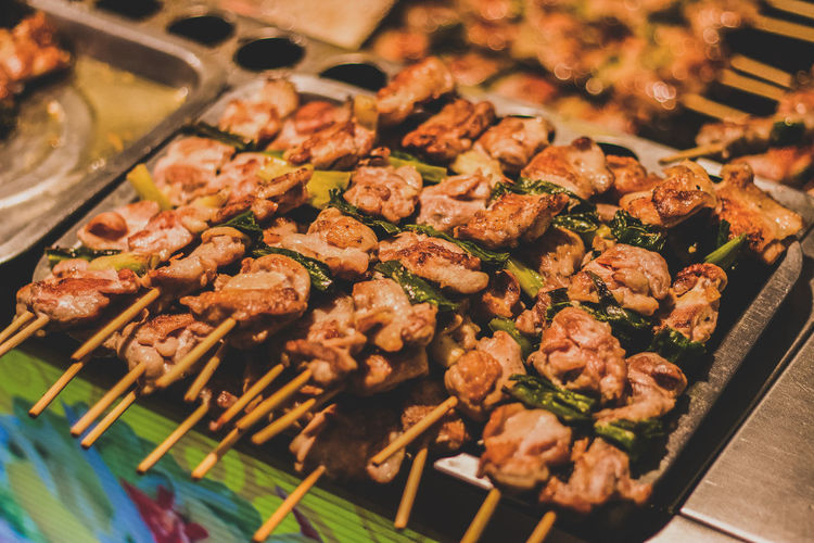 Close-up of grilled meat on skewers