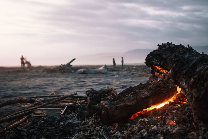 I don't still have no idea why exactly.. but for some reason people were burning all the drift wood along the beach at this place. It created a very special atmosphere. Felt like being in a Terminator movie set. Burning Nature Fire - Natural Phenomenon Flame Heat - Temperature Fire Bonfire Sky Wood - Material Campfire Outdoors Wood Log Environment Silhouette Focus On Foreground Close-up Macro Terminator Moody South America Orange Color Beach Glow Ashes
