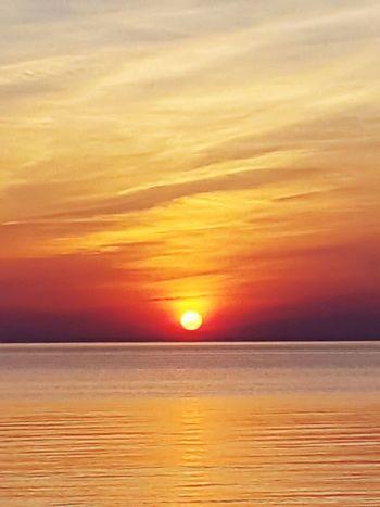Sanset The San Rampage  Water Sea Sunset Beach Horizon Yellow Sun Wave Red Awe