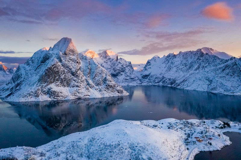 View Of Hamnøy II Lofaten - Norway View Of Hamnøy Hamnøy Lofaten Norway Norway🇳🇴 Norway Nature Eagle Eyes, Cold Temperature Winter Beauty In Nature Snow Scenics - Nature Mountain Sky Cloud - Sky Snowcapped Mountain Nature Mountain Peak No People Frozen Sunrise Dawn Reflection