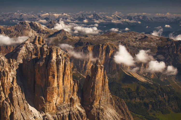 Incredible landscapes from Dolomite Mountains, Italy. Atmosphere Beautiful Cloudy Dolomites Nature Rocky Alps Beauty In Nature Clouds Dolomiti Europe High Angle View Horizon Italy Landscape Mountain Outdoors Photography Physical Geography Sunrise Sunset Tranquility Travel Destinations View From Above Perspectives On Nature