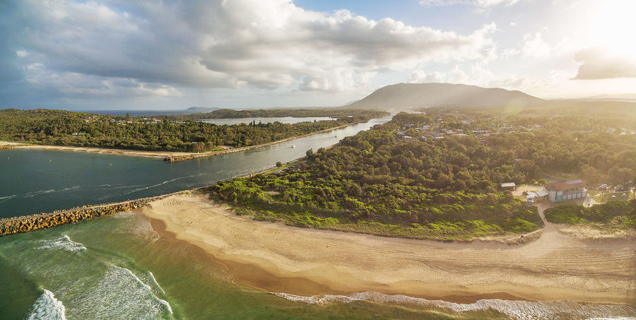 Camden Haven Inlet, North Haven, NSW, Australia - aerial panorama at sunset Australia Australian Landscape Coastline Drone  New South Wales  Panorama Panoramic Aerial Aerial Landscape Aerial Photography Aerial View Beauty In Nature Cloud - Sky Day Drone Photography Environment Idyllic Lagoon Land Landscape Mountain Nature No People Non-urban Scene North Haven Ocean Outdoors Plant Scenics - Nature Sea Sky Sunrise Sunset Tranquil Scene Tranquility Water