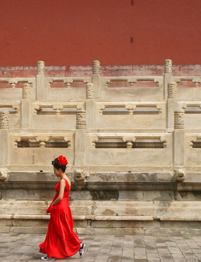 Red Architecture Building Exterior One Person Real People Red Tourism Traditional Clothing Women EyeEmNewHere