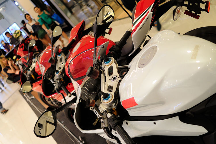 Close-Up Of Motorcycle In Shop