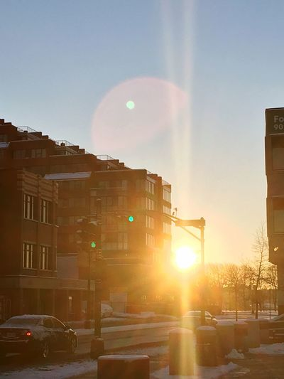 Good Morning!! Lens Flare Architecture Building Exterior Sunlight Built Structure Sun Transportation Car Sky Sunbeam City Land Vehicle Outdoors Day Morning Sunrise Rise And Shine