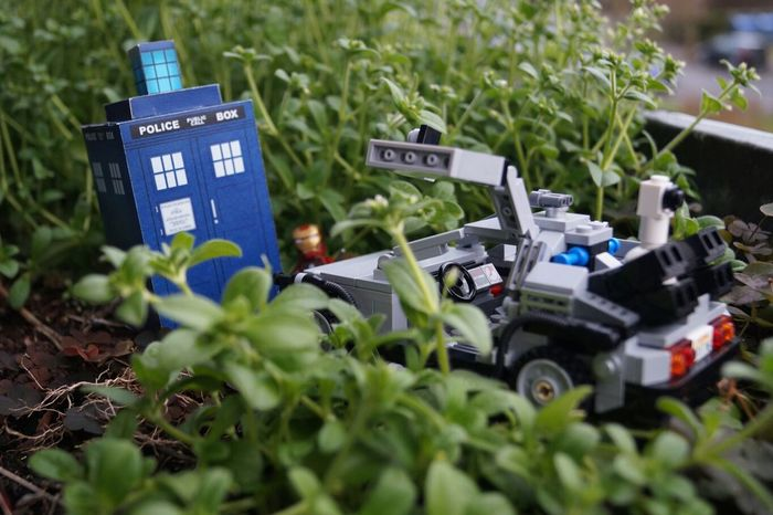 The Doctor Who and the mechanic are playing Hide And Seek on a higher level, the 4th dimension. Tardis Delorean lego ironman superheroes timemachine