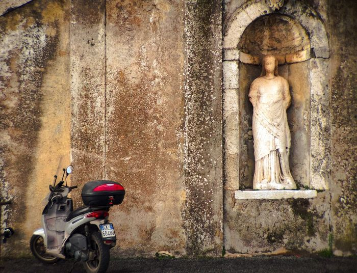 """""""Don't worry! I'll watch it"""" Motorcycles Parking Secured Insurance Fortuna Dea Fortuna Palestrina Roma Italia Roman Antique"""