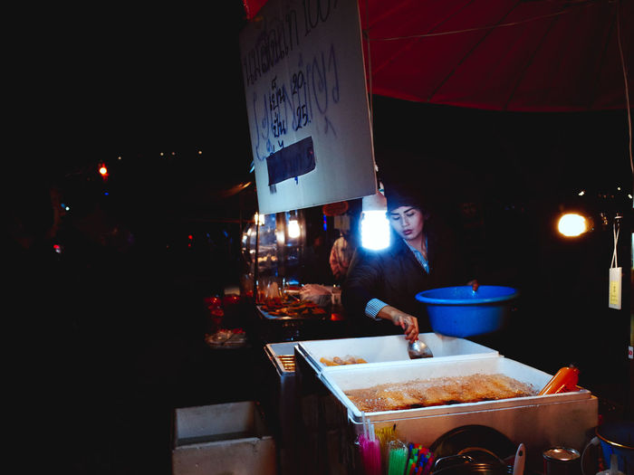 View of food on table at night