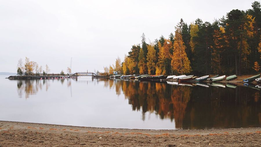 Rowboats Rowboat Boats Autumn Autumn Colors Water Water Reflections Reflection Lake Suomi Finland Mist Landscape Landscape Photography Landscapes With WhiteWall light and reflection The Great Outdoors - 2017 EyeEm Awards