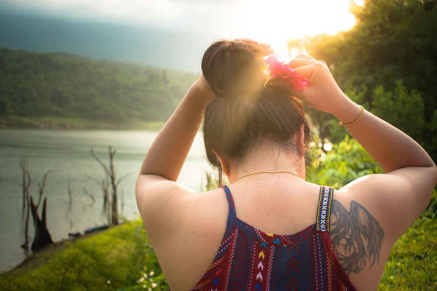 Morning Light Relaxing Sky And Clouds Adult Beautiful Woman Beauty In Nature Beauty In Nature Hair Bun Outdoors People Rear View Sky Tree Water