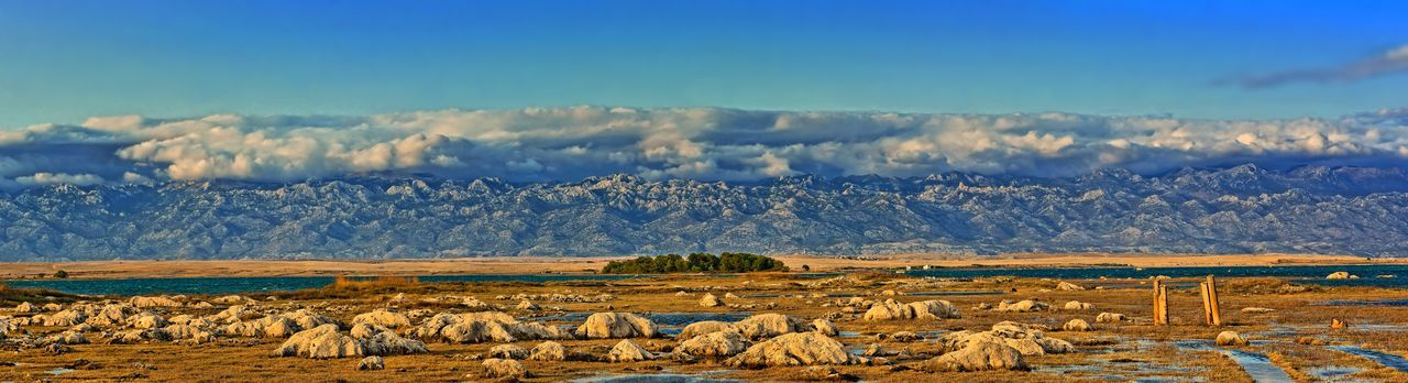 Croatia Dalmatian Island Pag Mediterranean  National Park Travel Photography Beauty In Nature Beautyful Landscape Clouds Grazing Landscape Mammal Mountain Mountain Range Mountainscape Nature No People Outdoors Scenics Sky Stonefield Stones Travel Destinations Trees And Nature Vír Croatia