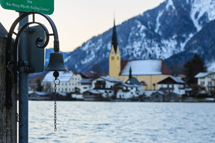 Close-up of bell by lake at tegernsee