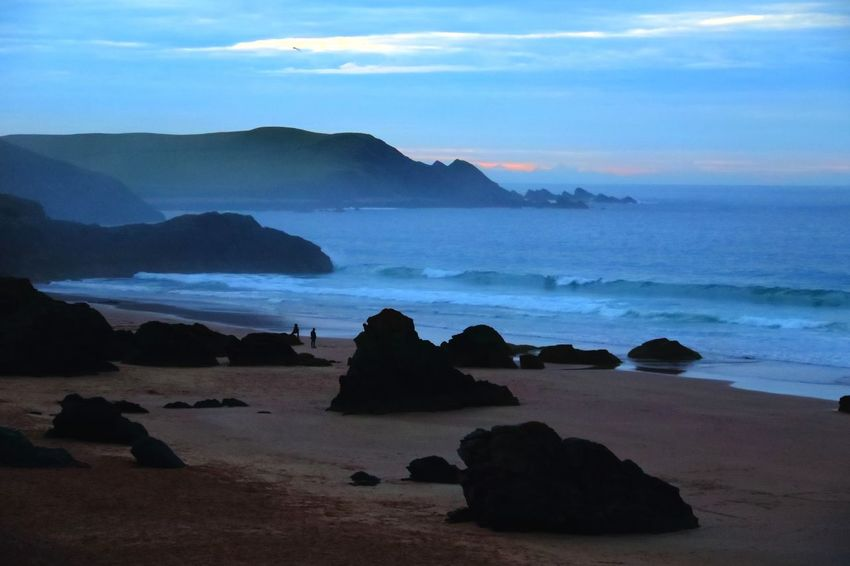Sango sands at dusk. Sea Beach Rock - Object Sand Horizon Over Water Sunset Beauty Landscape Blue Cloud - Sky Outdoors Wave Travel Destinations Summer Nature Water Night Sky Coastline Coast Sunset Silhouettes Scotland North Coast 500 Nc500 Beauty In Nature