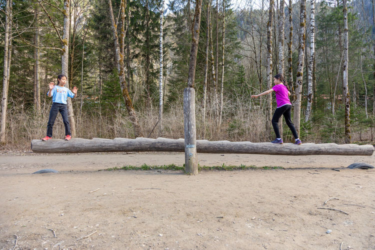 Two young female children play on a wooden seesaw balance beam at a national park