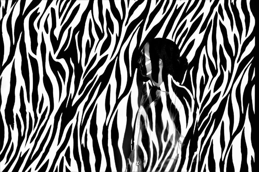 Animals In The Wild Blackandwhite One Person Pattern Real People Schoolproject Studio Shot Women Zebra Zebra Pattern