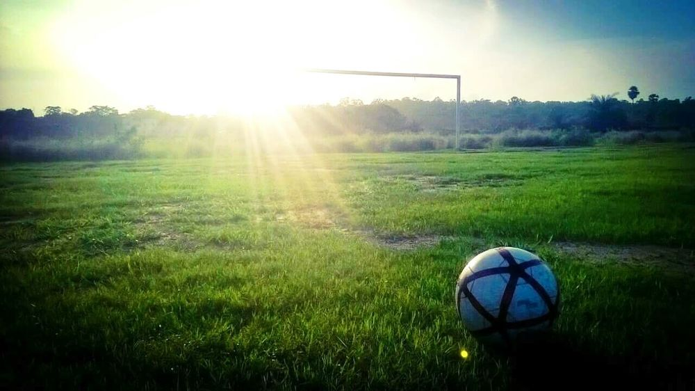 Grass Sunbeam No People Soccer Ball Soccer Field Green Color Playing Field EyeEmNewHere