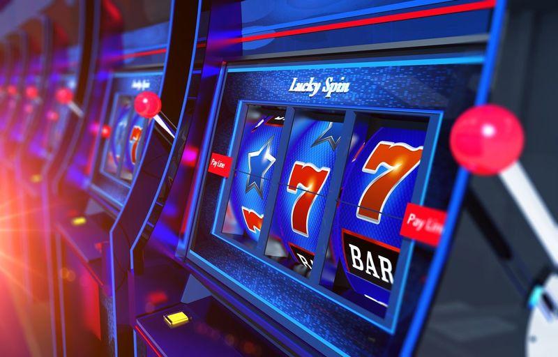 Close-up of slot machines