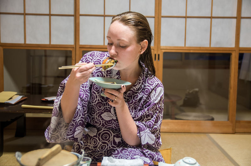 Chopsticks Eating Home Japan Japanese Food Kimono Sitting Sitting On The Floor Sushi Tourism Woman