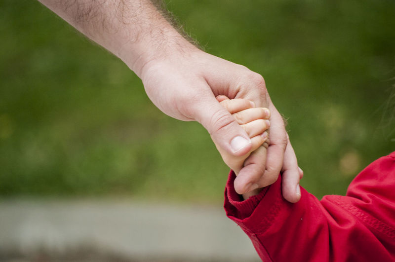 Cropped Image Of Father Holding Daughter Hand