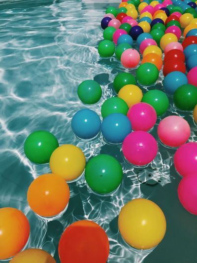 Blue Multi Colored No People Balloon Water High Angle View Sphere Variation Large Group Of Objects Choice Decoration Celebration Shape Ball Green Color Nature Holiday Event Pool Geometric Shape Swimming Pool