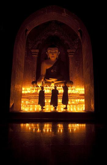Statue of buddha at night