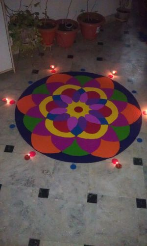 Colorful Rangoli. Art Religion Art And Craft Creativity Outdoors Check This Out