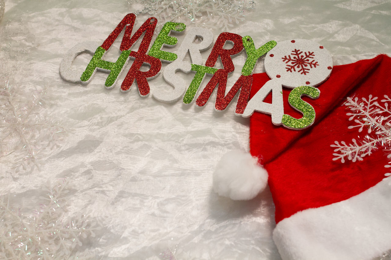 celebration, red, white color, food and drink, christmas, text, indoors, high angle view, no people, food, close-up, freshness, day, ready-to-eat