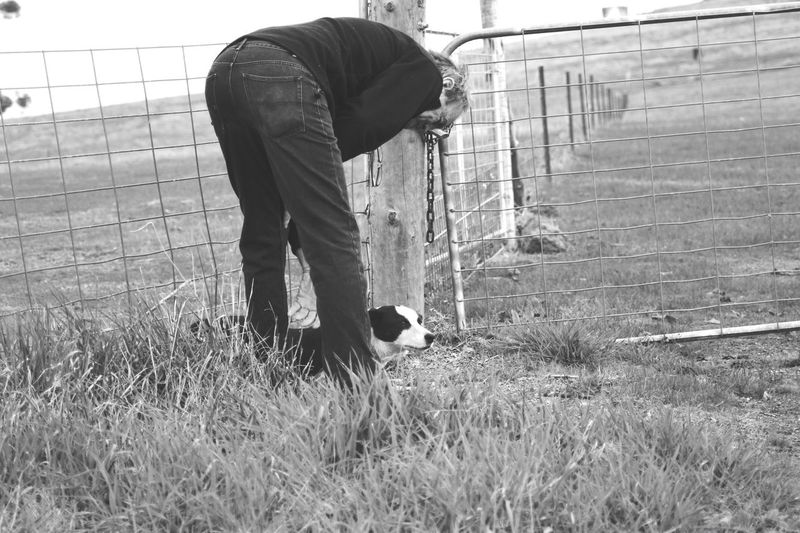 Farmer & Mate. Domestic Animals Mammal One Person One Animal Men Growth Livestock Leisure Activity Pets Nature One Man Only Day Outdoors Adult Farmland Farm Life Kelpiesofaustralia Black And White Photography Manandhisdog