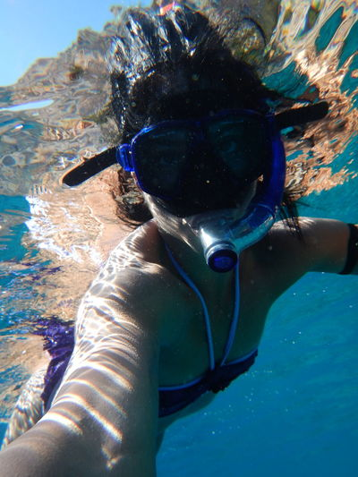 Diving Symi Greece Girlfriend Diving Mask Saint George Beach Purple Underwater Photography Blue Sea