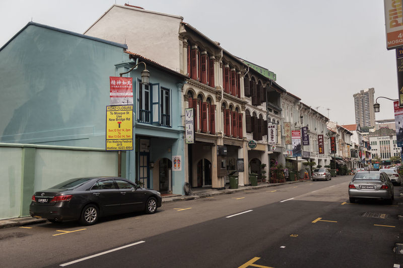Chinatown in Singapore City Date October 4, 2014. Architecture Building Building Exterior Built Structure Car City City Life City Street Composition Direction Façade Incidental People Large Group Of People Leading Outdoors Perspective Residential Structure Street The Way Forward Transportation Urban