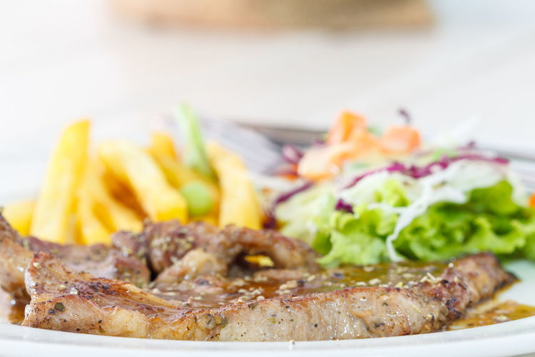 pork steak Beef Close-up Dinner Fast Food Food Food And Drink French Fries Freshness Fried Garnish Gourmet Healthy Eating Meal Meat Plate Potato Prepared Potato Ready-to-eat Red Meat Salad Sandwich Snack Vegetable