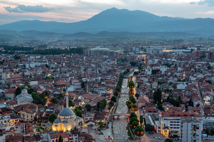 Beautiful cityscape view of Prizren, Kosovo taken just after sunset with Sinan Pasha Mosque on the bottom left Prizren Kosovo Architecture Travel Travel Destinations Tourism Eastern Europe Balkan Balkans Historic Medieval Cityscape Urban Mosque Sinan Pasha Sinan Pasha Mosque Dusk Sunset Blue Hour TOWNSCAPE City Building Exterior Built Structure Sky Mountain