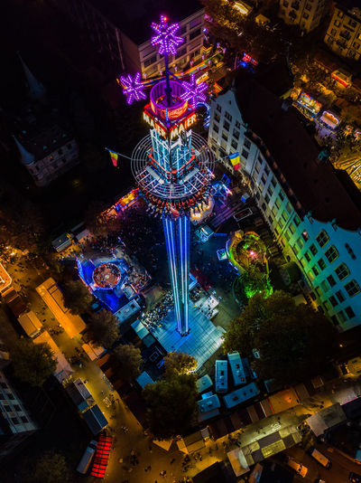 Amusement Park Architecture Building Exterior Built Structure Illuminated Low Angle View Night No People Outdoors