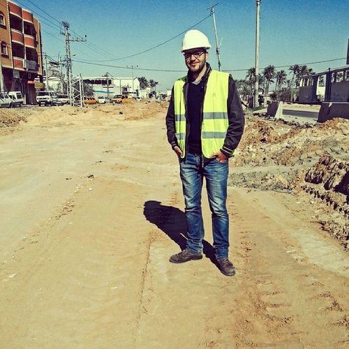 Me Civil Engineer Gaza Palestine Work Training Safety Hat Site Construction Building Salahldeen Street Yellow Glasses Sun Winter Engineering RJ