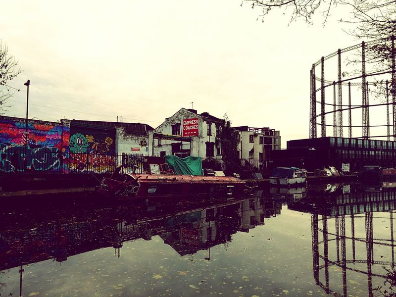 Reflection Water No People Day Canal Regents Canal Sinkingboat Canal Boat Canal Barge Tinker Tailor Soldier Spy Hackney East London, UK Gas Tower Industrial Marathontraining