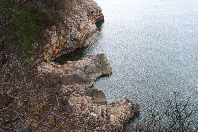 Rock Water Rock - Object Beauty In Nature Solid Nature Scenics - Nature Tranquility Land Tranquil Scene Sea No People High Angle View Rock Formation Day Cliff Outdoors Plant Rocky Coastline Formation Eroded Trees Mediterranean  Shore